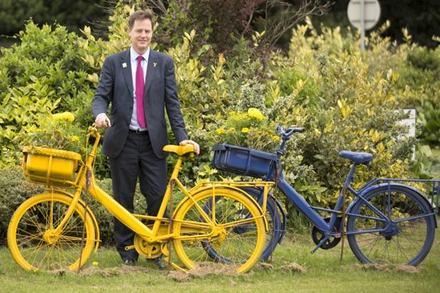 Archive image of Cleggert going for a 'spin'. Liking the yellow bike, Nick. YOU'RE SO ON BRAND.